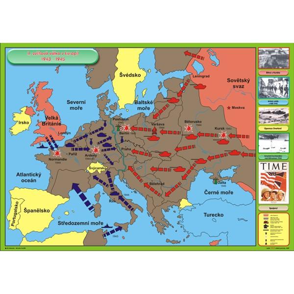 Ii Svetova Valka V Evrope 1943 1945 Nastenna Mapa Zaklapavaci