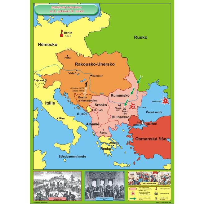 Balkansky Poloostrov Ve 2 Polovine 19 Stol Nastenna Mapa